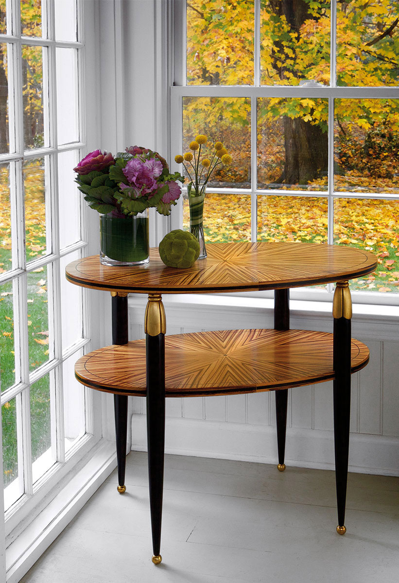 tables accent and inlaid occasional round black metal table art nouveau with one shelf zebrawood veneer legs antiqued gold leaf accents brass ball feet home decoration things