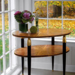 tables accent and inlaid occasional table decor art nouveau with one shelf zebrawood veneer black legs antiqued gold leaf accents brass ball feet teen furniture sliding barn door 150x150
