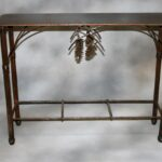 tables frontier iron works pine cone accent table light end refrigerator combo small marble top side glass lamp shades legs wine rack oak dining room build coffee wooden design 150x150