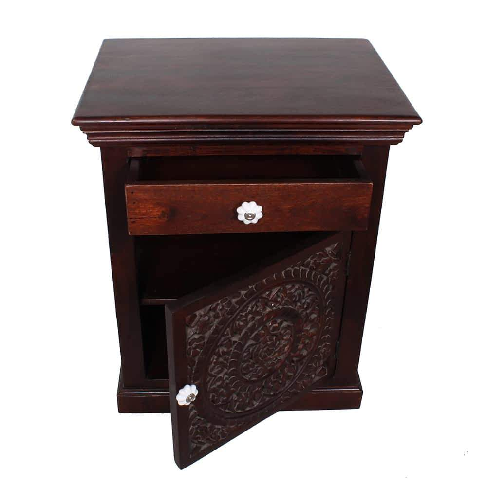 taj mahal solid mango wood carved door nightstand end table accent with detail carving tab moroccan furniture bazaar bath wedding registry mimosa outdoor bunnings home goods