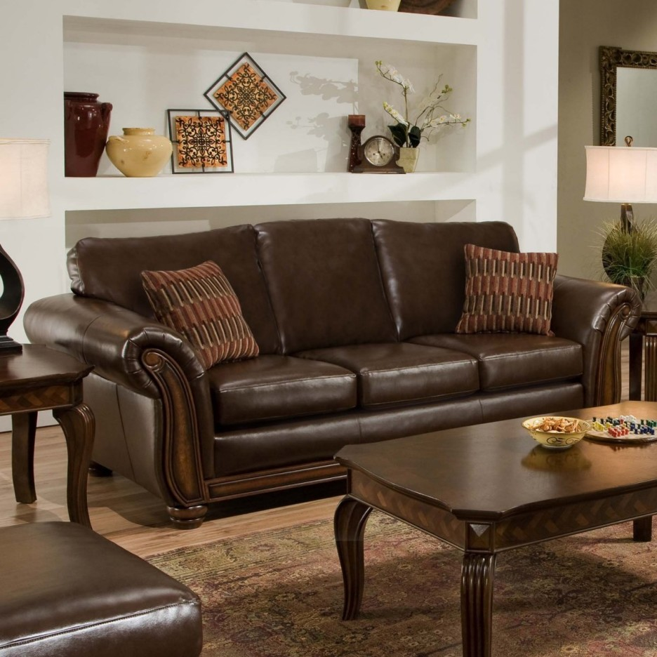 tall accent tables living room small house interior design killer decoration using upholstered dark brown leather sofa including stripe cushion and rectangular solid mahogany wood