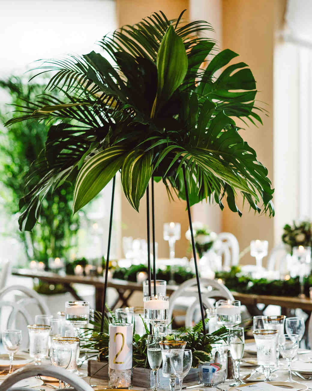 tall centerpieces that will take your reception tables new aster and olive vert chloe accent table centerpiece with greenery pottery barn bench brown wicker patio side