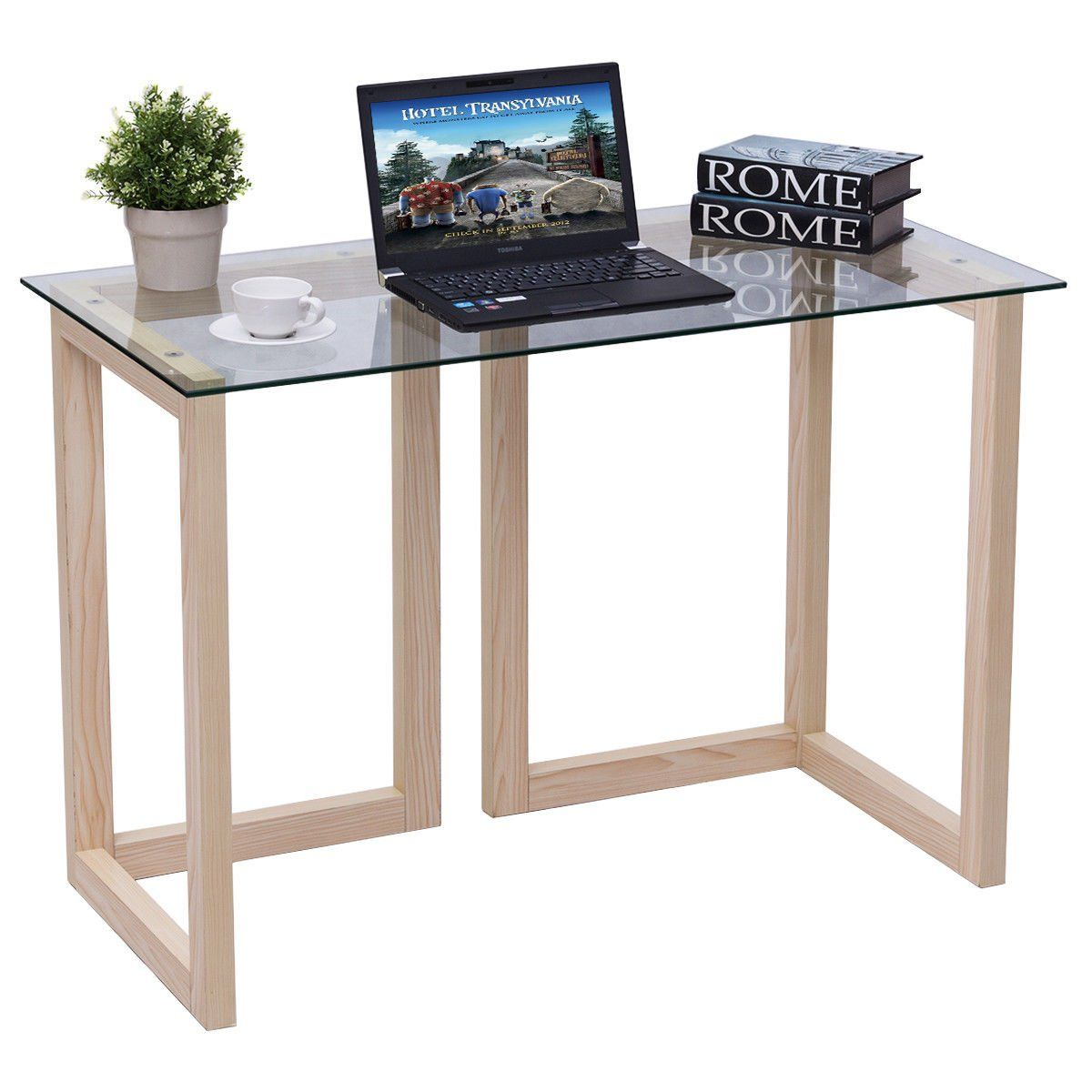 tangkula computer desk home office glass top accent table writing wish know lot more click the this affiliate link round skirts decorator pottery barn teen floor lamp made coffee