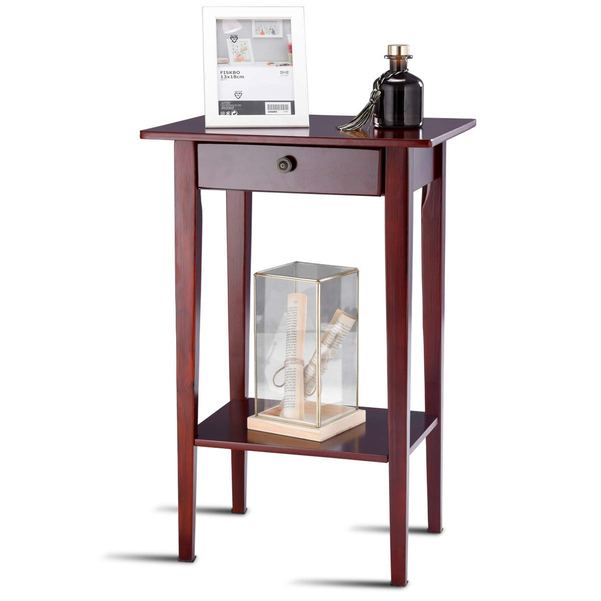 tangkula end table tall wood side accent style telephone stand home office furniture drawer shelf kitchen dining large marble coffee making barn door goods rugs small with