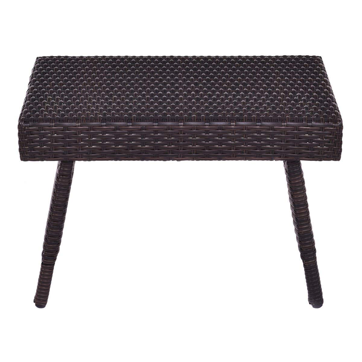 tangkula outdoor wicker table patio poolside lawn foldable accent brown garden rattan steel frame folding standing coffee side unique entryway tables doll furniture wall file