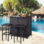 tangkula piece patio bar set rattan wicker stools storage accent table for lawn pool backyard garden dining with shelves indoor outdoor moder plexi coffee astoria leick corner 150x150