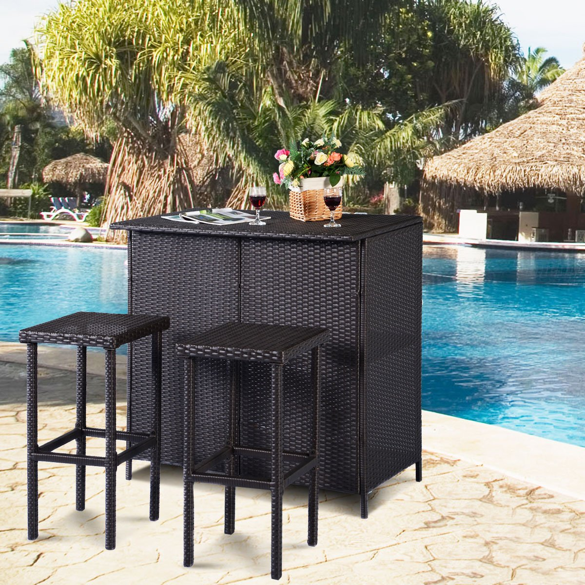 tangkula piece patio bar set rattan wicker stools storage accent table for lawn pool backyard garden dining with shelves indoor outdoor moder plexi coffee astoria leick corner