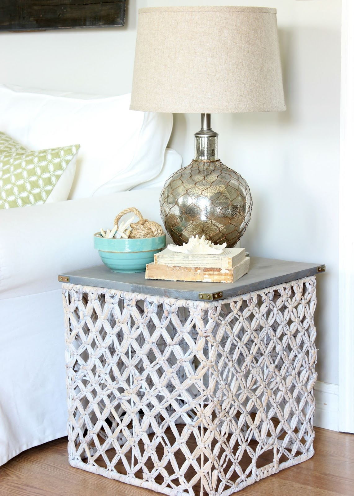 target summer basket becomes chic side table hymns and verses endtable wicker accent this turned upside down formed the base for small coffee with drawers ikea concrete wood