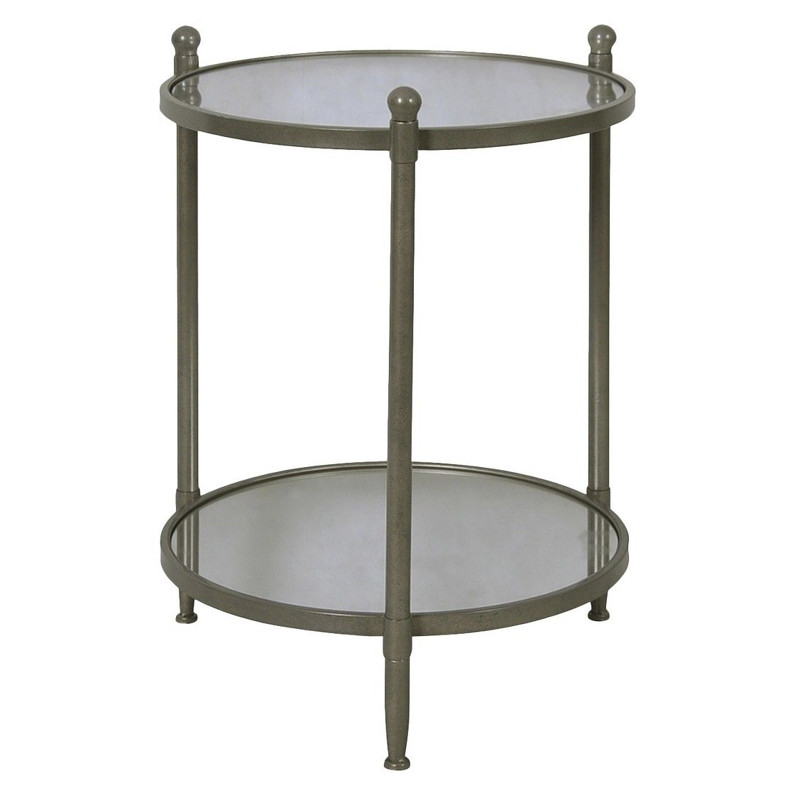 target threshold two tier round mirrored side table antiqued accent pewter led battery lamp furniture lighting cherry coffee venetian bedside tables narrow counter height for