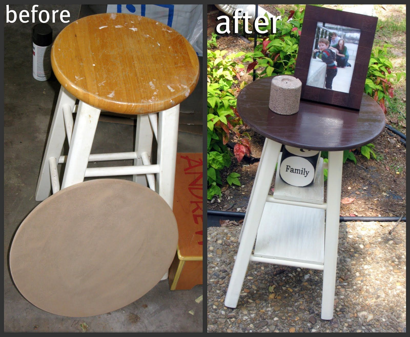 tattered and inked dont throw that old stool out make into small half circle accent table instead white wood end huge outdoor umbrella west elm chair round corner canvas patio