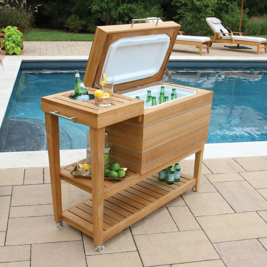 teak cooler and drink stand cucina cart country casual outdoor side table beverage dale tiffany lily lamp counter height kitchen island dining couch decor bar style contemporary