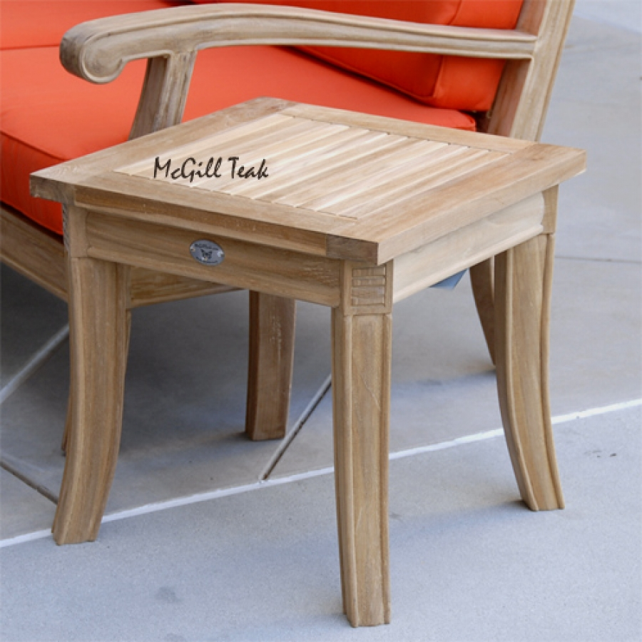 teak outdoor garden end table royal patio side accent tables vintage with drawers blue living room chairs pottery barn dishes kitchen cupboards marble white whole round