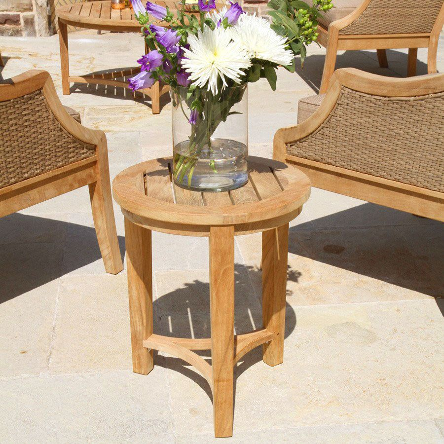 teak outdoor tables berwick round side table country casual accent tall hallway cabinet mini lanterns mango end wooden storage trunk garden mawr metal black and white dining