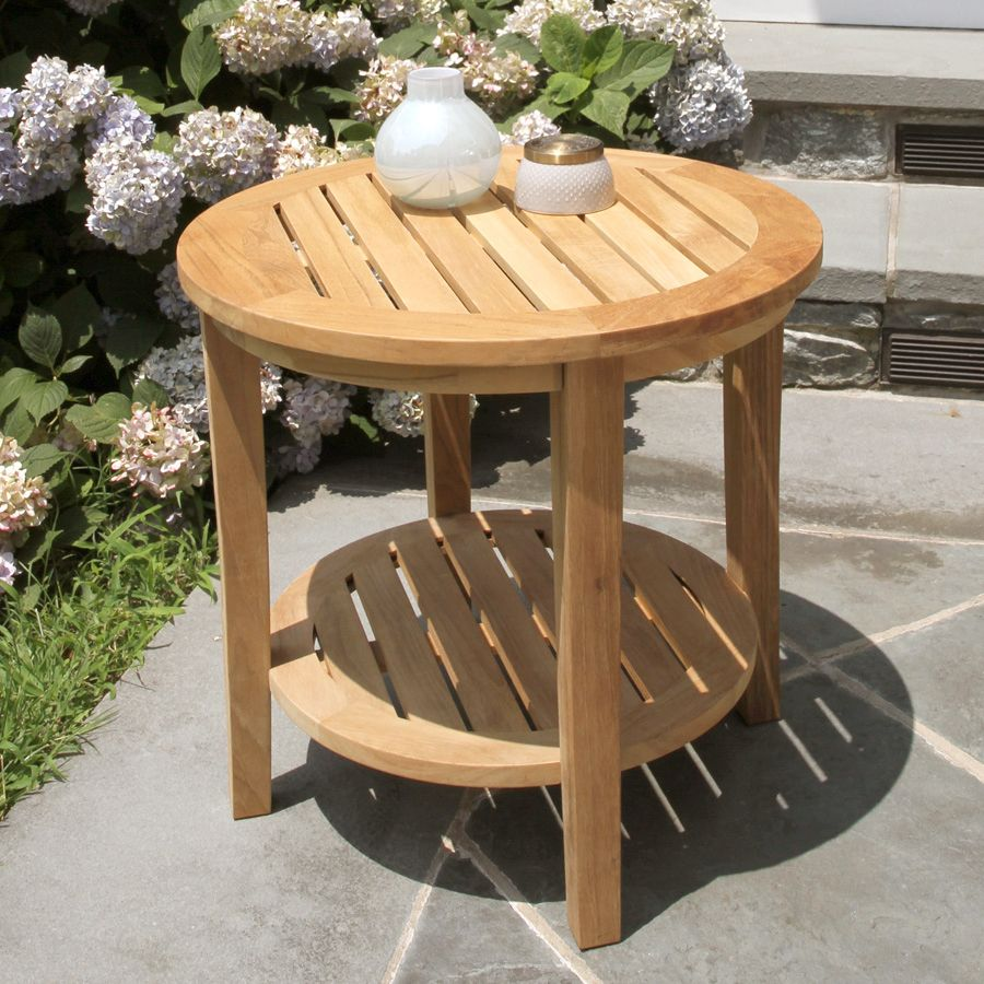 teak outdoor tables seneca round side table country casual accent wall for living room garden corner cabinet wooden storage trunk sheridan furniture slimline mirrored bedside off