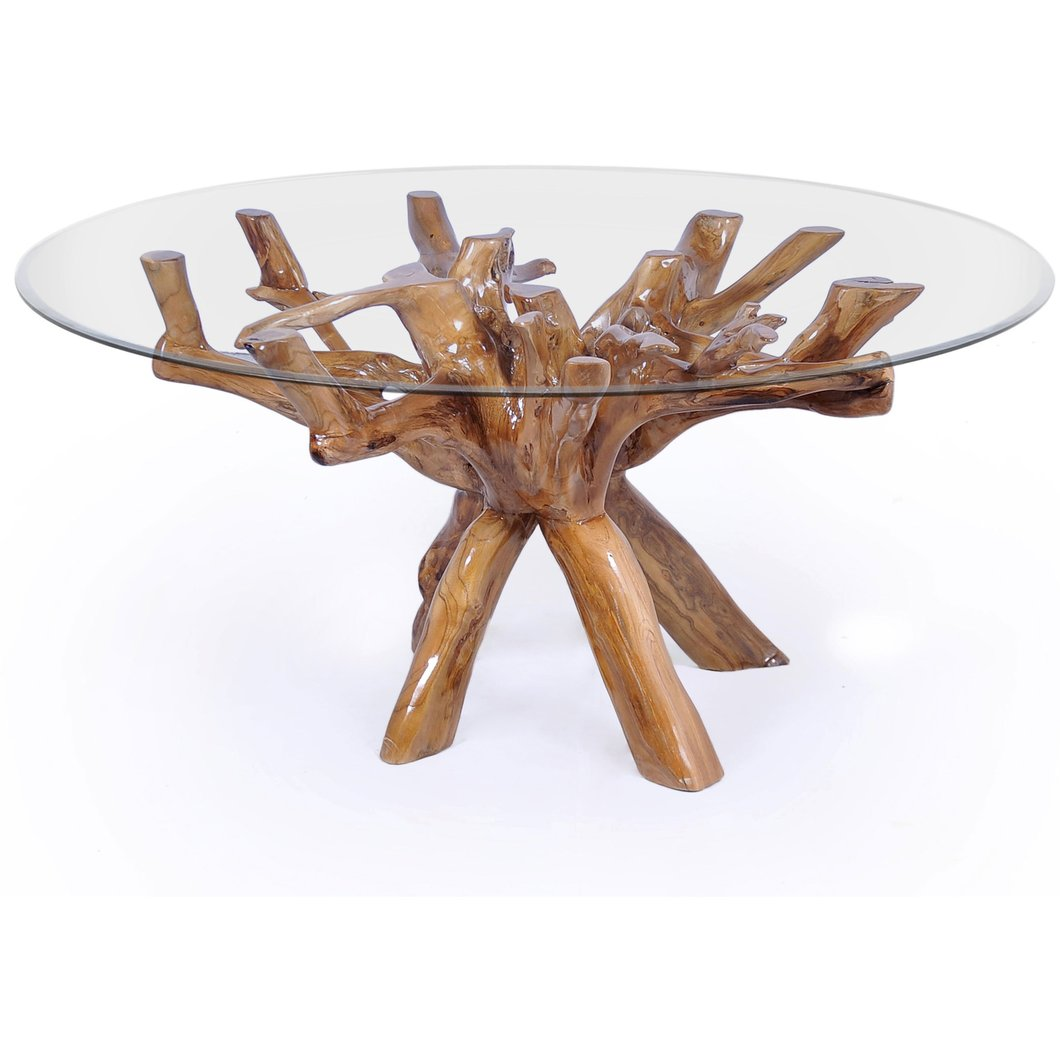 teak wood root dining table including round inch glass top accent chic stump outdoor chairs for balcony circle coffee with storage hand painted chest drawers kmart rug pier room