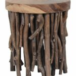 teakwood stick liberte round side table jeffan zulily teak accent zulilyfinds homebase garden chairs target sideboard pottery barn with doors distressed white coffee set 150x150