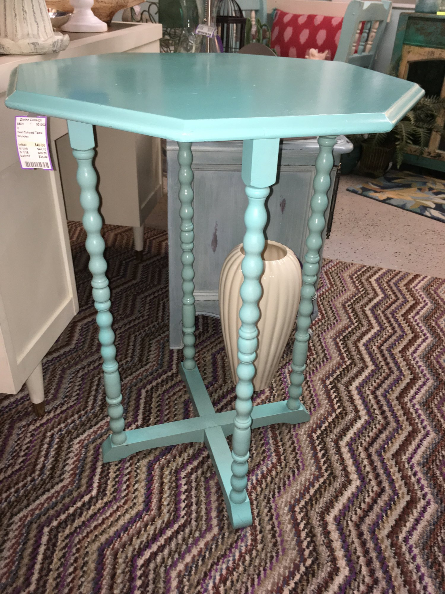 teal colored table divine consign home treasures accent bright aqua can double plant standbr small glass console target makeup vanity pub dining set ashley furniture round coffee