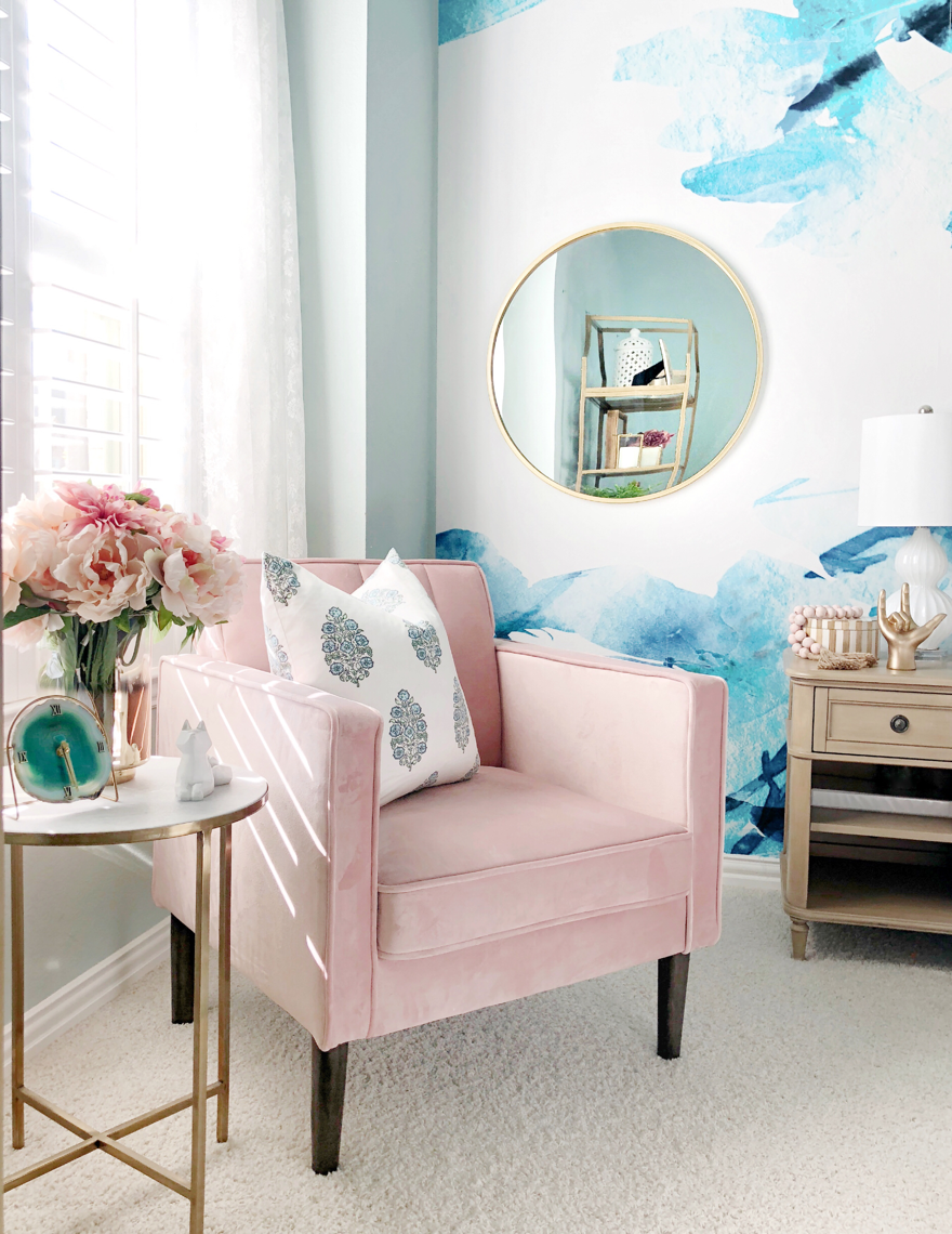 teen room refresh gallery wall and glam accents house pink accent chair gold table marble this gorgeous ombre vase can also found target threshold drawer kitchen set turquoise