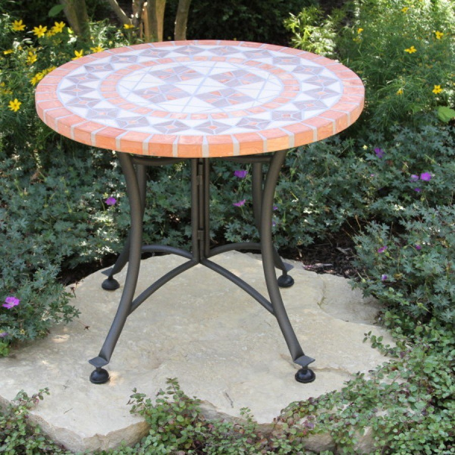 terra cotta mosaic accent table outdoor little kid chairs tall narrow coffee vinyl covers vintage white end two door cabinet metal threshold winsome instructions garden storage