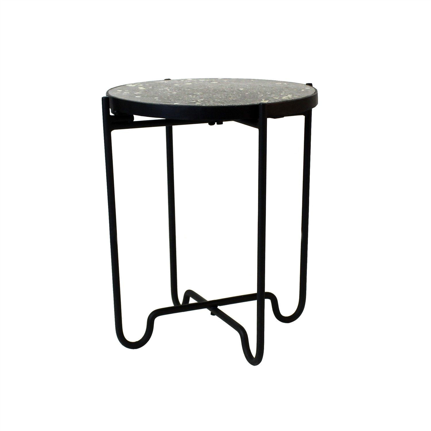 terrazzo black stone iron round side table marble pedestal accent stand kitchen dining white wood small living room decor inch end mid century sideboard fire ethan allen nesting