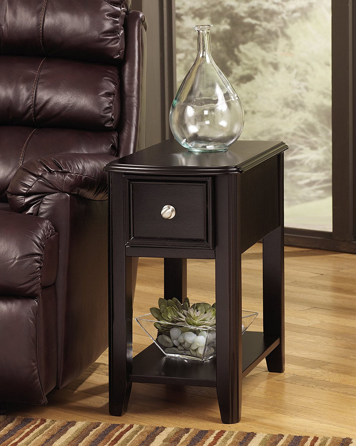 terrific small side table options for your living room ashley signature design breegin chair end dark wood accent furniture rectangular with nickel tone hardware and narrow white