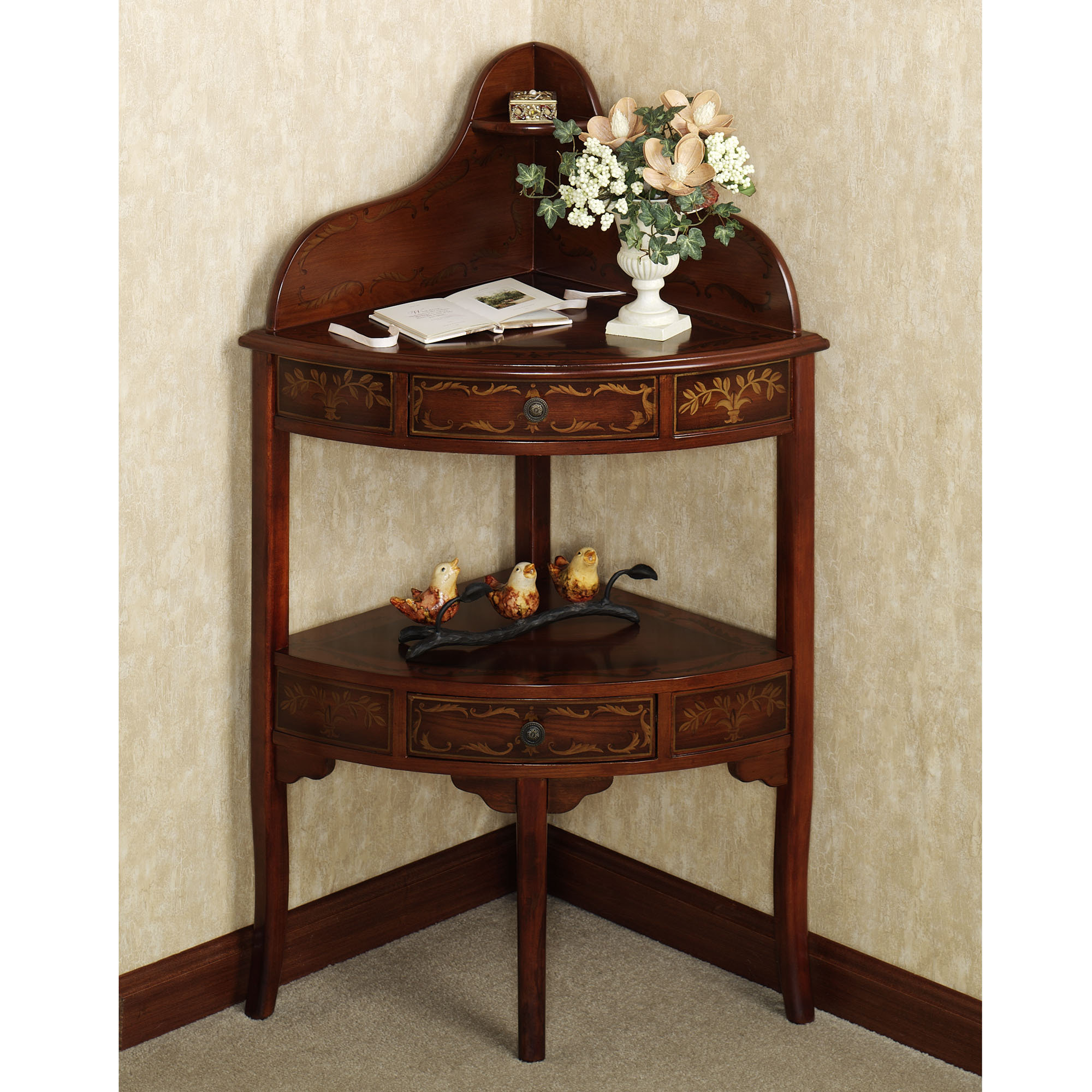 terrific triangle corner table with amazing design ajara decor interior brown wooden curving fornt and drawers depend two shelves three legs placed the gray floor accent runner