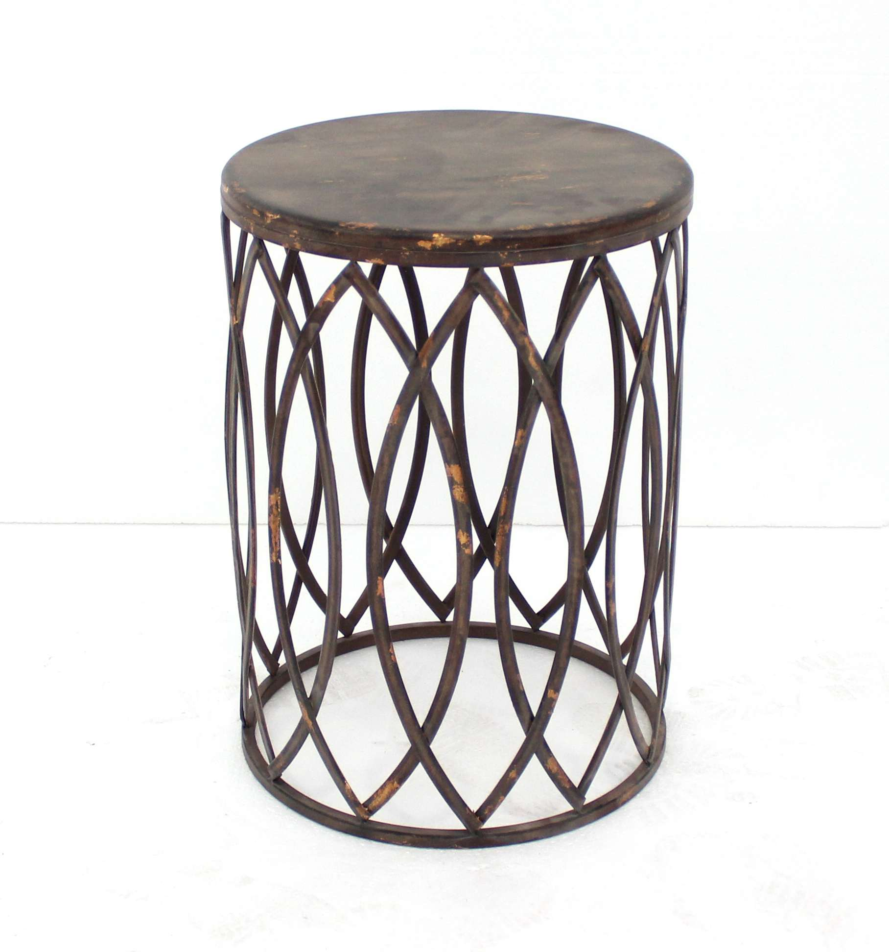 teton home distressed copper metal round accent table with wood top drum battery operated lamp patio end tables art deco armchair nautical wall lights indoor folding dining