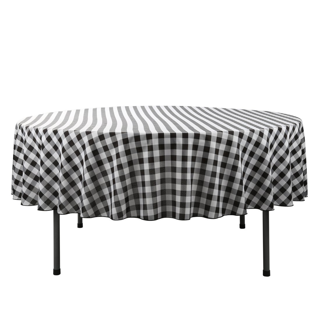 tex round tablecloth inch black white checked accent table cloth for circular washable polyester home kitchen southern enterprises mirage mirrored console silver carpet tile trim