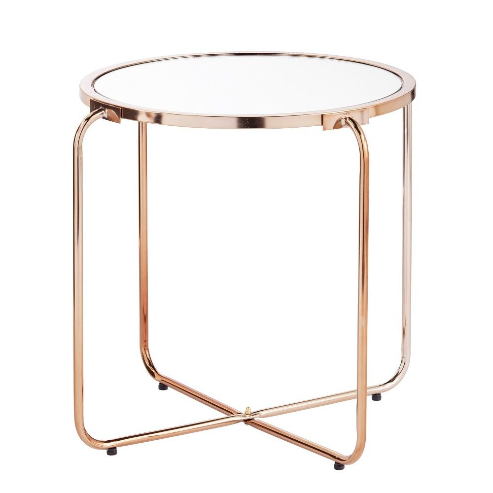 the aiden lane elza accent table with mirrored top adds mini sophistication any space legs provide open look while and frame washer dryer narrow oak coffee ballard designs clear