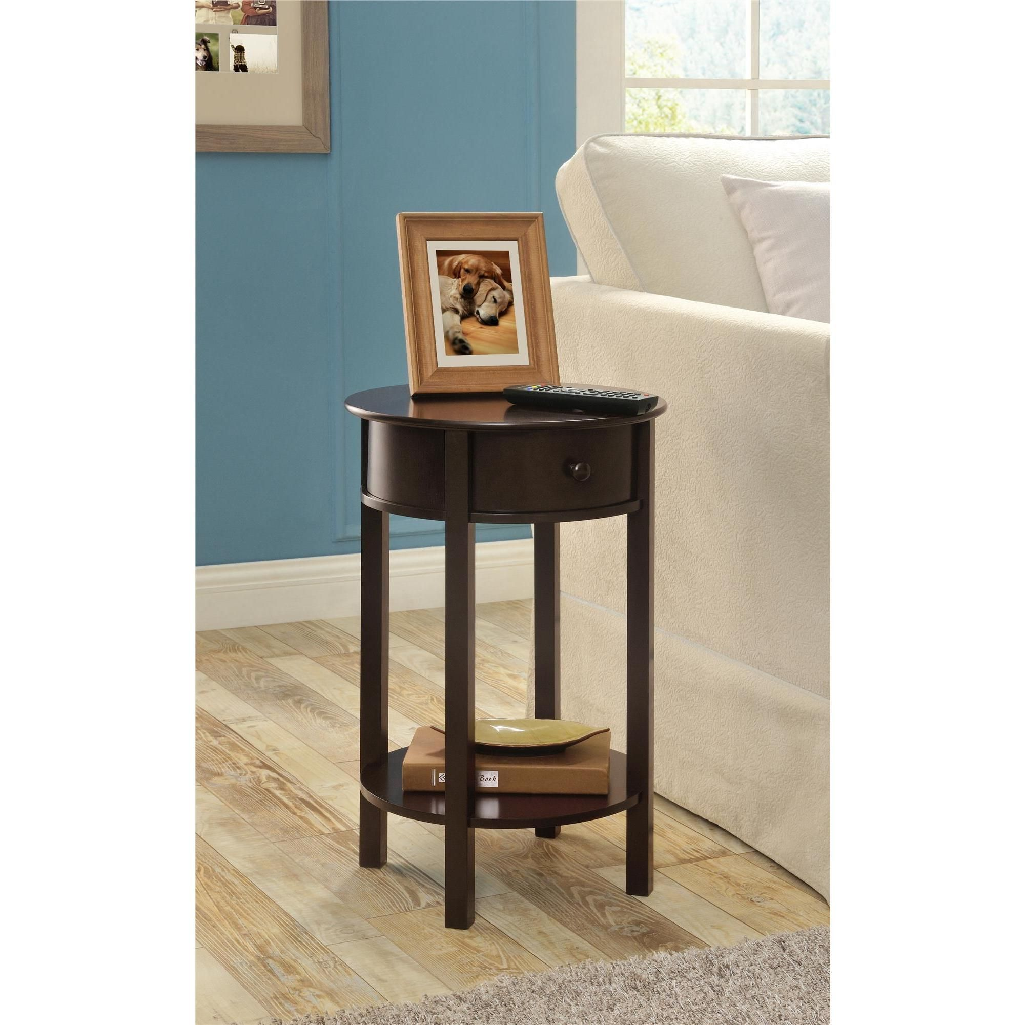 the altra furniture round end table features small drawer and threshold accent espresso coffee console sofa tables for less modern glass top metal drum floor transition reducer