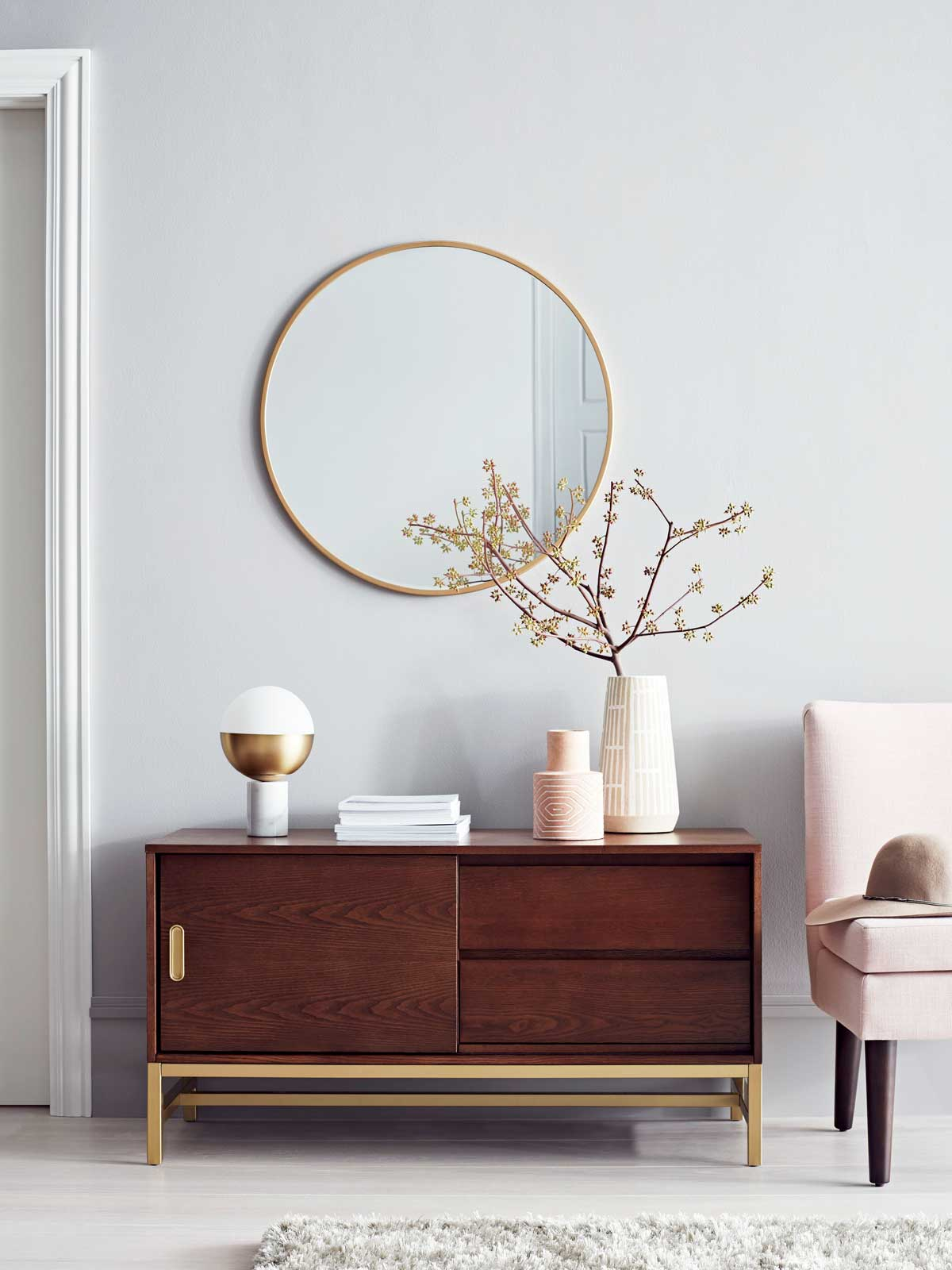 the best target new project thou swell crush blush accent table modern sideboard and round mirror with slipper chair from exterior nautical decor windham furniture bay marble