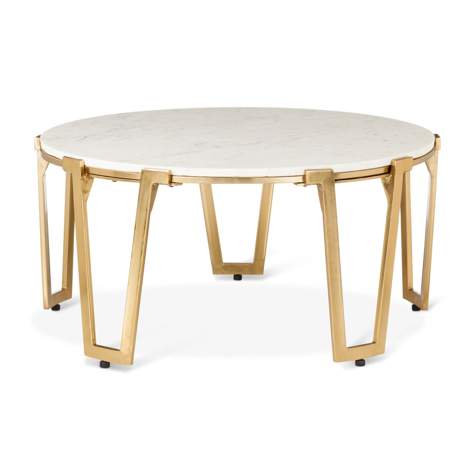 the brass and marble coffee table nate berkus has style class round gold accent with top that will make stand out your living room family metallic finish target bunk beds ashley