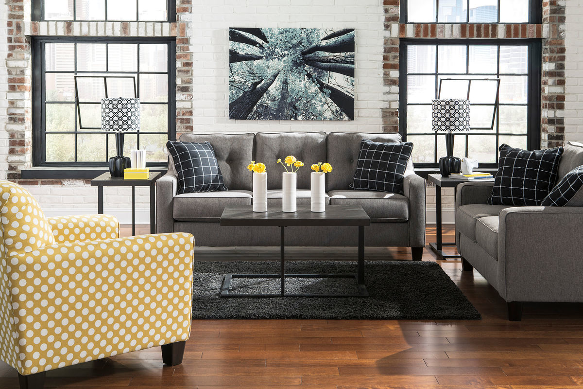 the brindon charcoal sofa loveseat accent chair airdon table set and living room cabinets chests tall tiffany lamps antique end tables with leather inlay ikea entrance glass floor