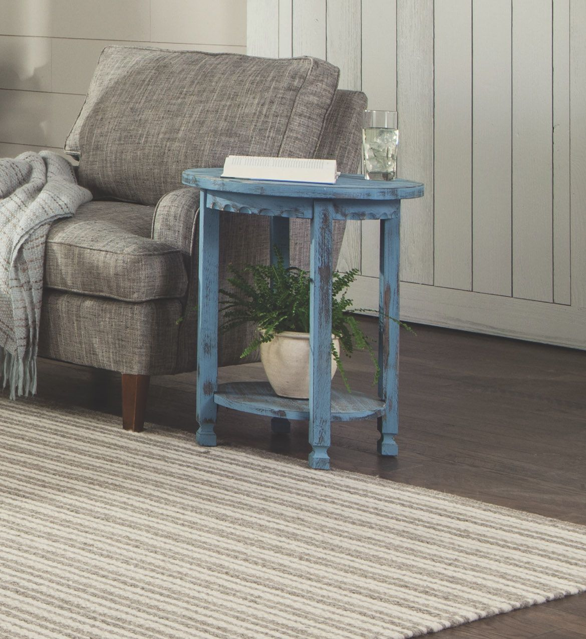 the country cottage diameter round accent table versatile for distressed any space your home attractive design with functional shelf adds stylish element homesense dining chairs