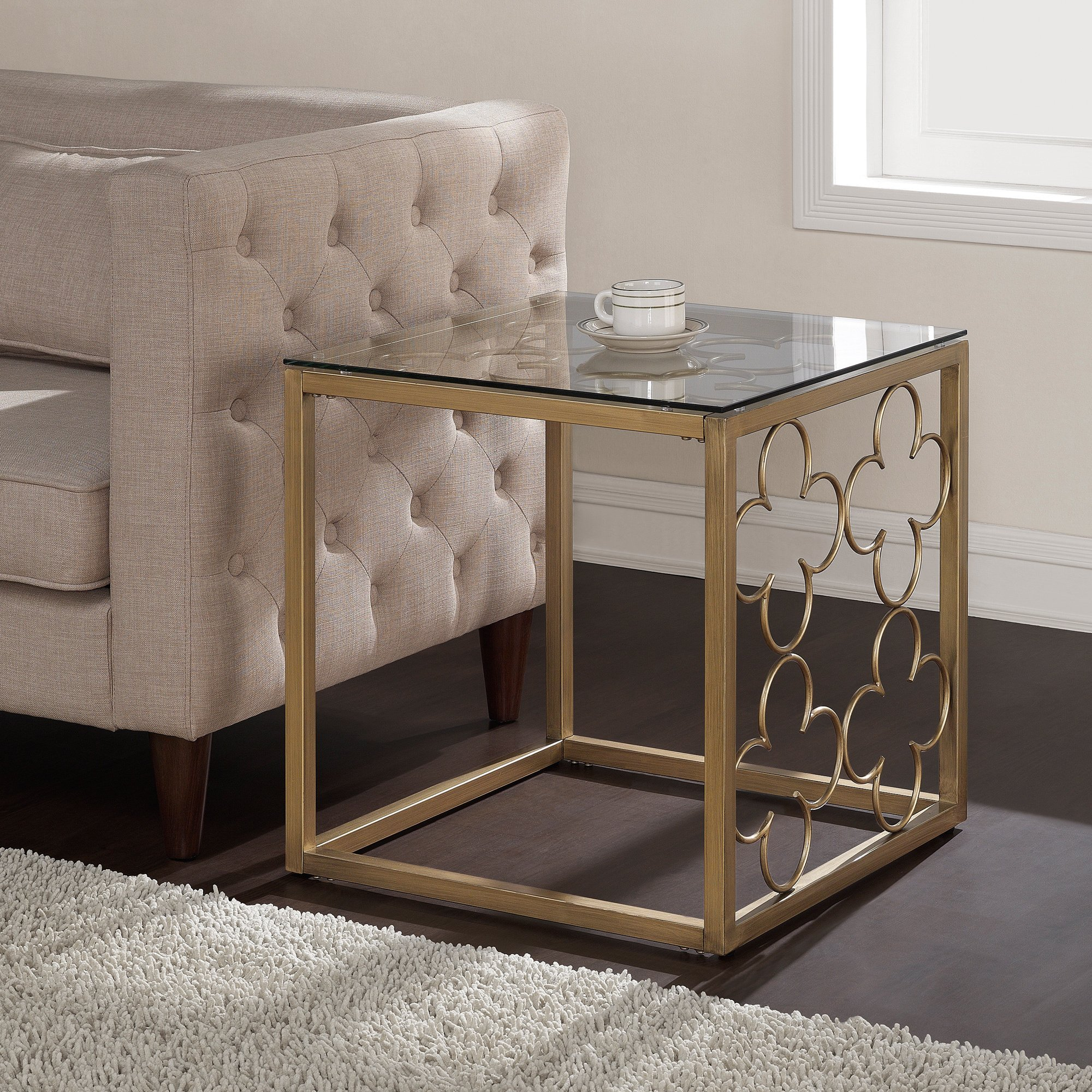 the curated nomad quatrefoil goldtone metal and glass end table gold accent small dark wood console antique green side lifetime tables short tall with drawer teak driftwood coffee