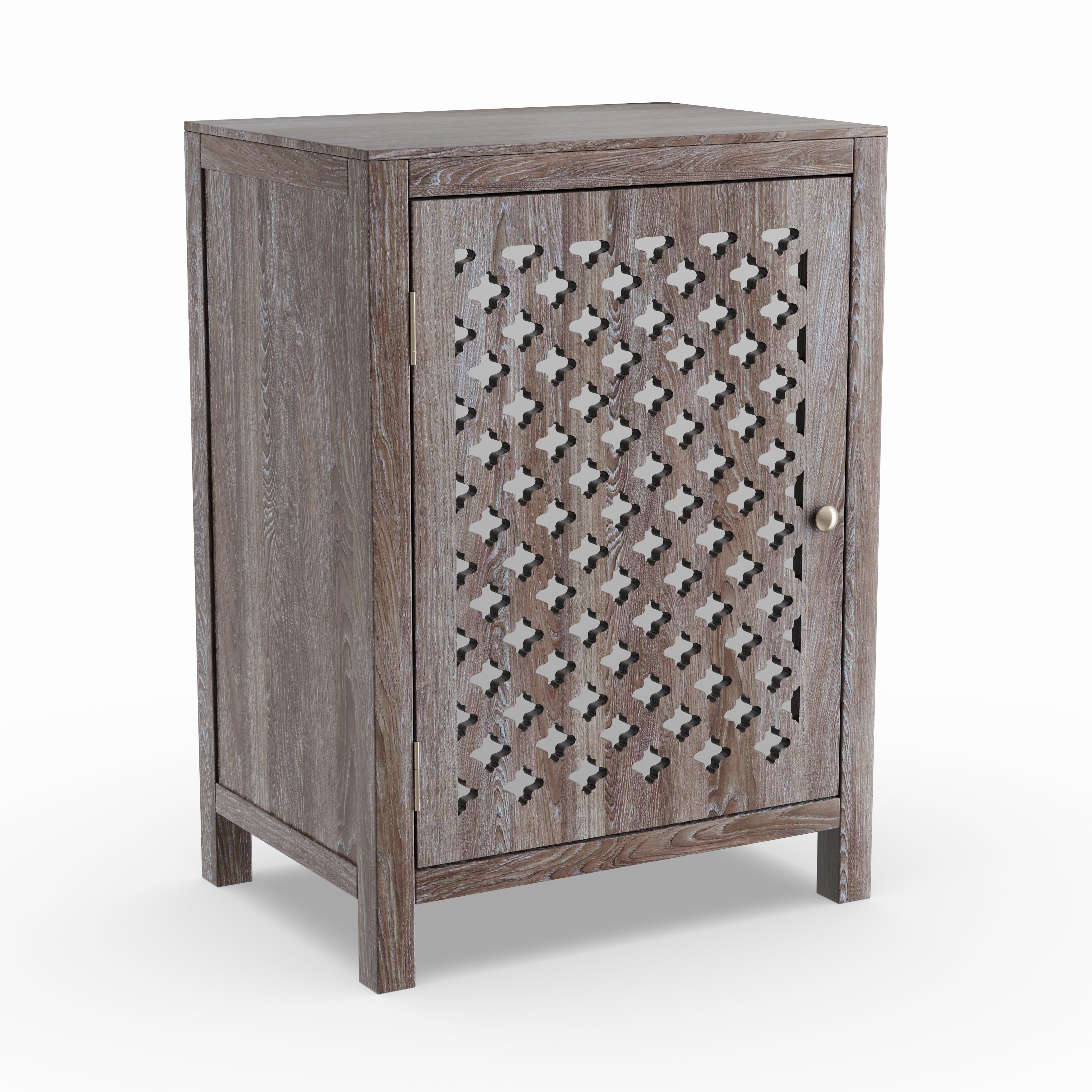the curated nomad tabitha distressed grey quatrefoil end table maison rouge anatole with mirror accent free shipping today drum stool cover side acrylic small for room marble top