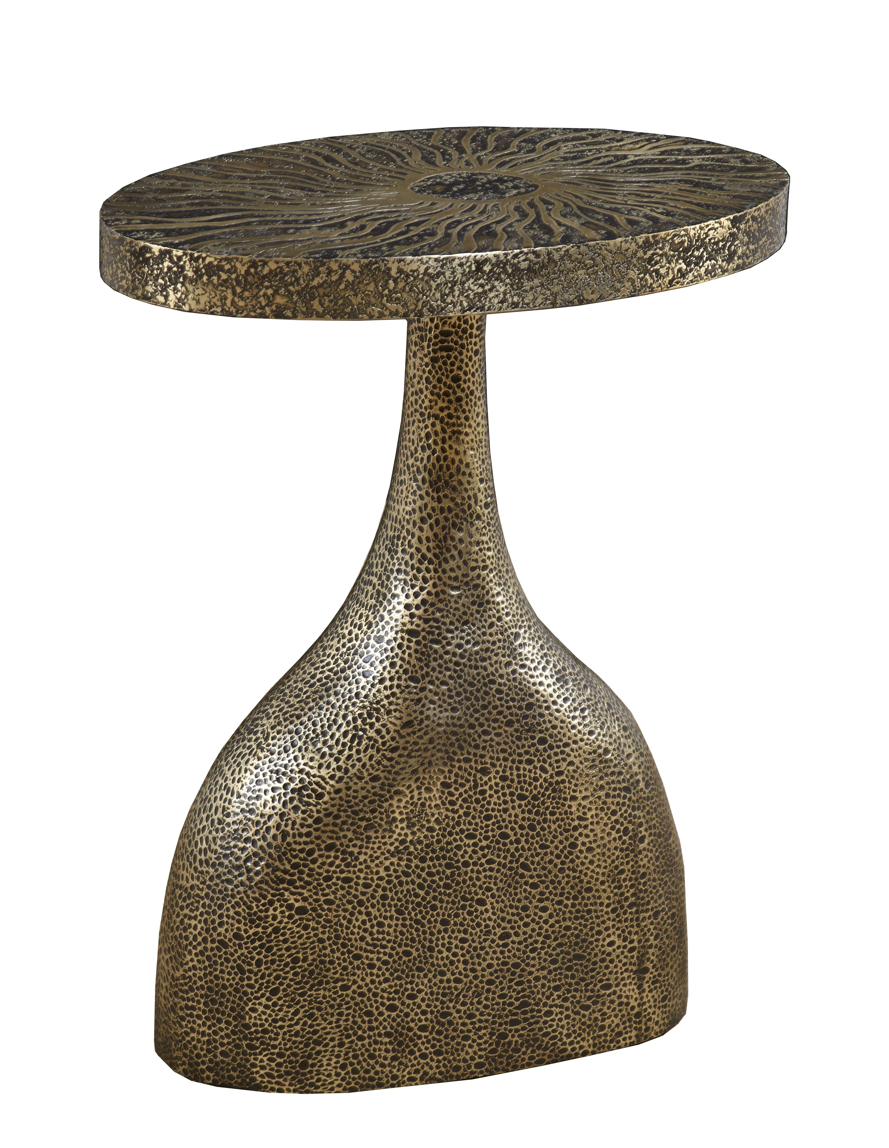the funnel accent table alden parkes shaped and cast base from aluminum with hand hammered tabletop etched pattern sun brown living room furniture barn dining kenroy home used