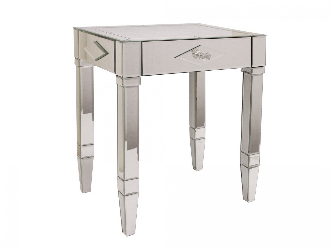the glamour mirror and decorative details art deco design diamond mirrored accent table are hallmarks side carry motif through fabric target red cabinet small narrow hollywood