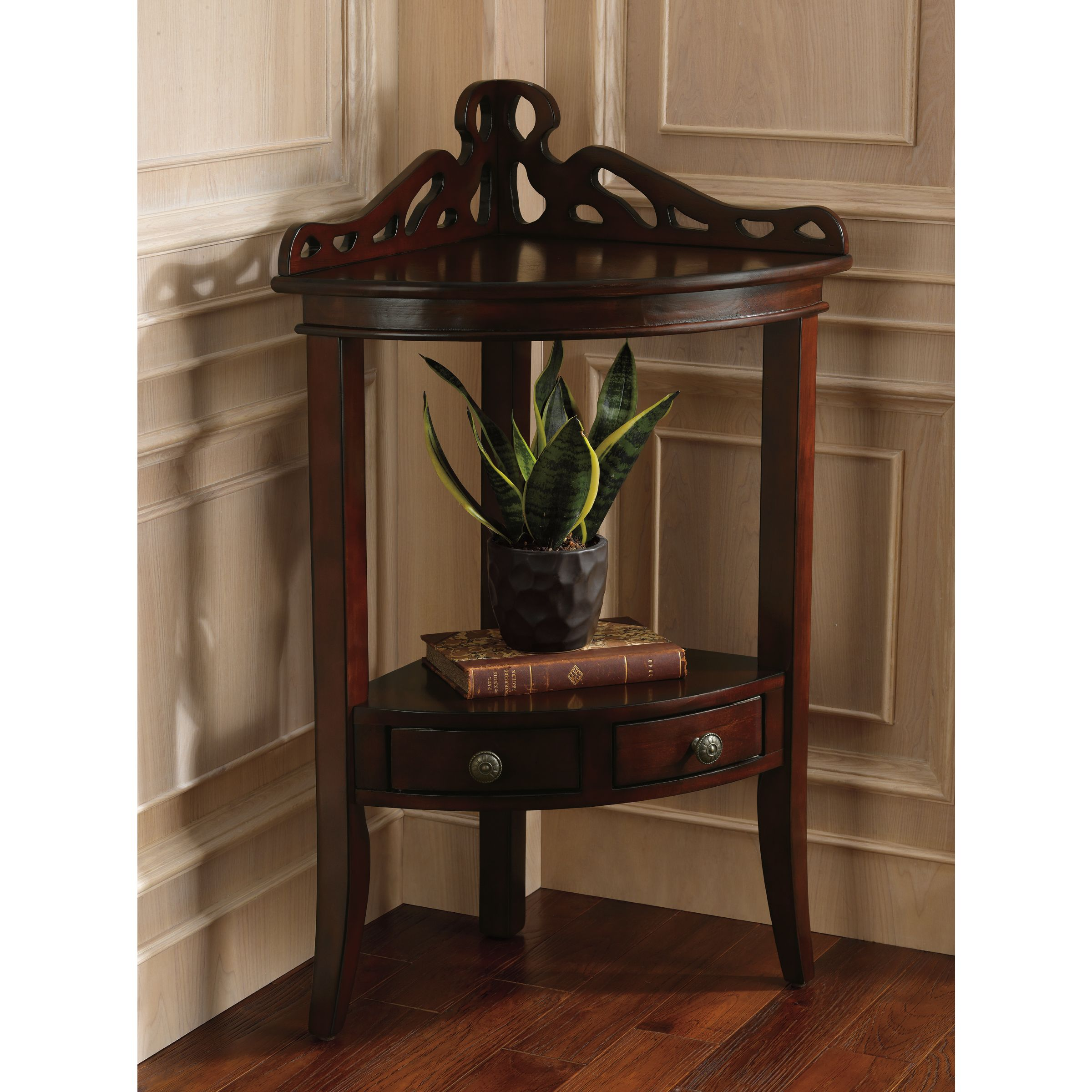 the grace corner accent table perfect piece fit elegantly bedroom tables into your entry hall living room sits flush yuma furniture square outdoor coffee mirrored dresser target