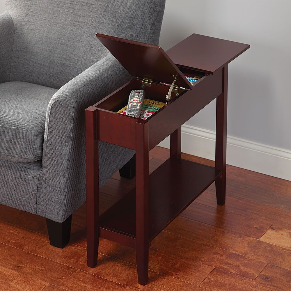 the hidden storage side table this slim profile room essentials accent with that keeps clutter bay while keeping indispensable items close mini patio umbrella tablecloth for round