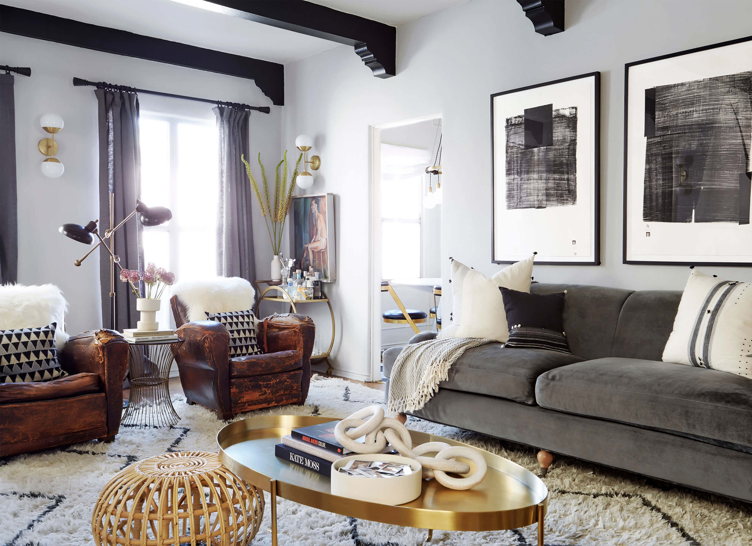 the living room rules you should know emily henderson brady tolbert design eclectic pavillion grey farrow and ball brass coffee table english roll arm albini masculine traditional