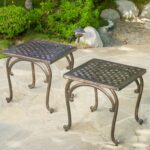 the mckinley cast outdoor end tables are perfect accent pieces metal garden table for your backyard its sturdy construction will give you years enjoyment blue tablecloth faux 150x150