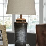 the norbert gray metal table lamp available bitney round glynn accent home goods side farm style coffee tall crystal lamps drum shaped pub bar height wooden blue white ginger jar 150x150