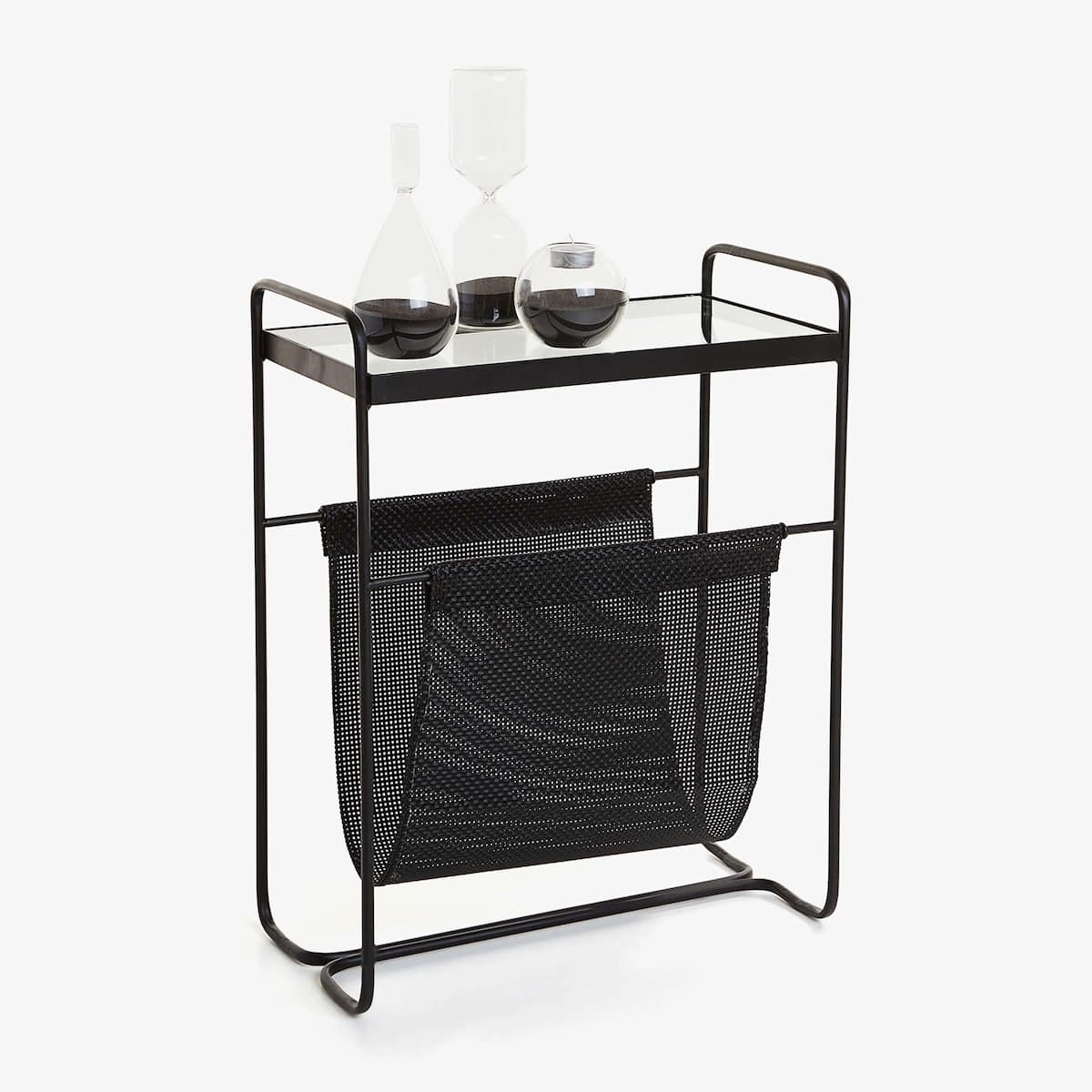 the perfect black side table with magazine rack tures metal new zara home united product litter boxes that look like furniture leon flyer wicker basket lid deck and chairs hammary