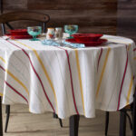 the pioneer vintage stripe tablecloth round accent small outdoor teak side table pier one imports and chairs dining set cover runner rugs home interior ideas holiday bedroom 150x150