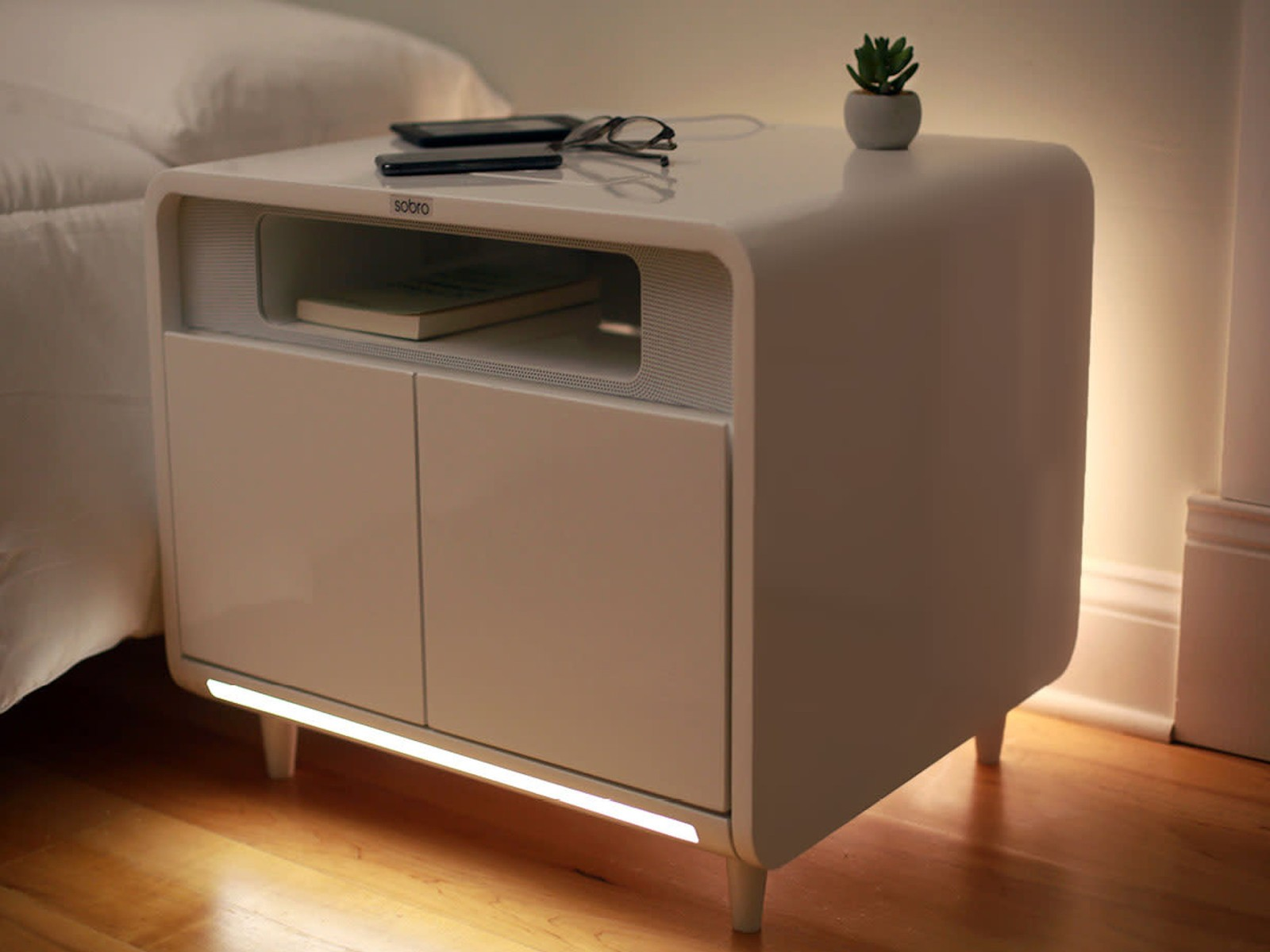 the sobro smart side table wants improve your bedside experience sombro hero mini accent usually home water bottle iphone complete with annoying charging cord headphones small