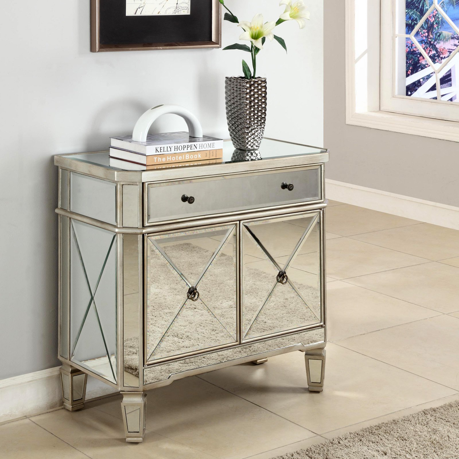 the super best mirrored bronze nightstand ture hotxpress powell door console triple dressing table mirror dark wood metal drum square base side steel galvanized pipe for legs