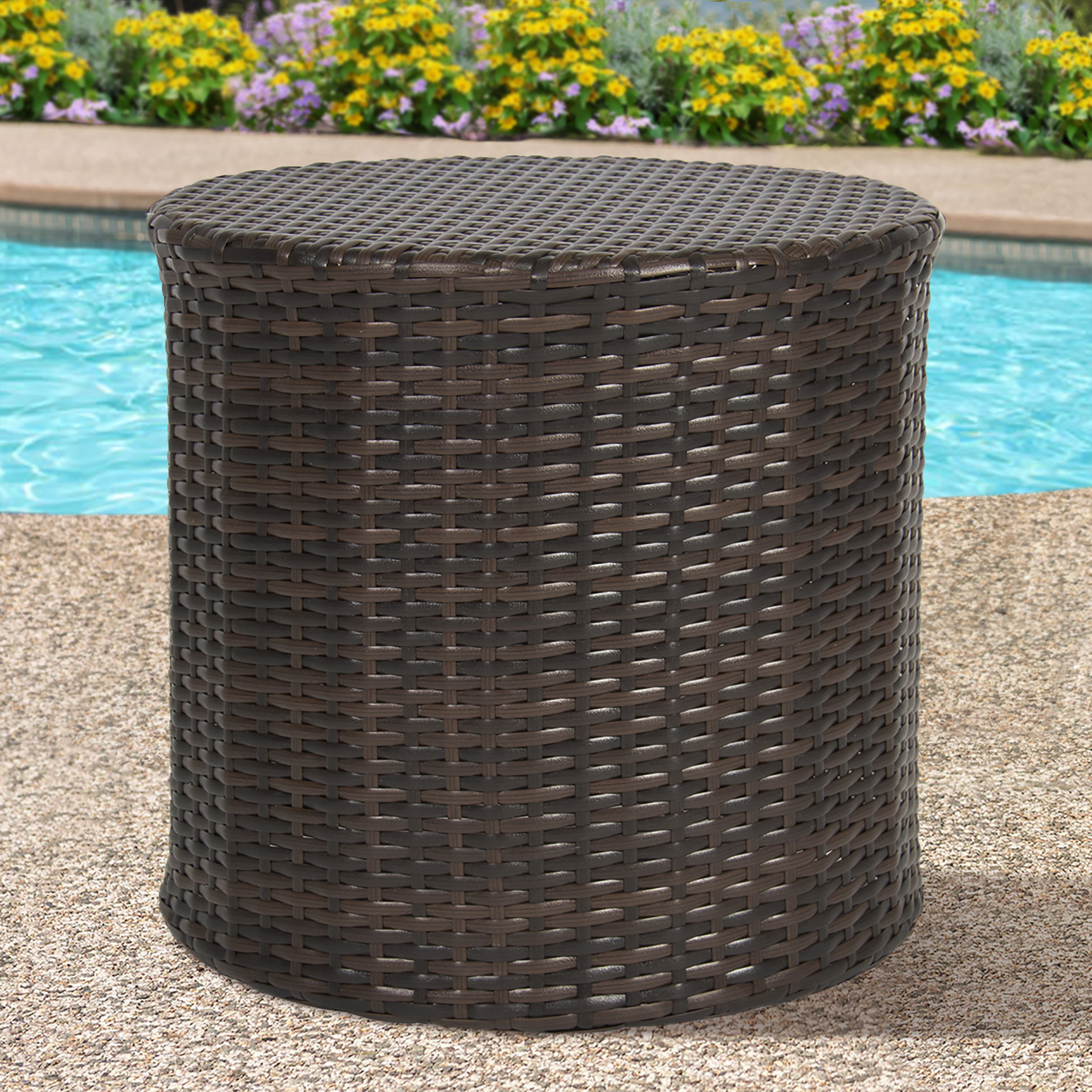 the super fun wicker end table white ture mira road side best choice products outdoor rattan barrel patio furniture garden backyard pool hobby lobby small tables baker farmhouse