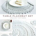 the table placement set includes intricate crocheted placemat and accent coaster pattern these delicate lacy pieces are perfect that impressive drawer mirrored bedside nautical 150x150