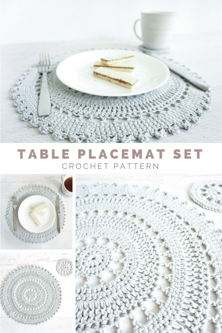 the table placement set includes intricate crocheted placemat and accent coaster pattern these delicate lacy pieces are perfect that impressive drawer mirrored bedside nautical